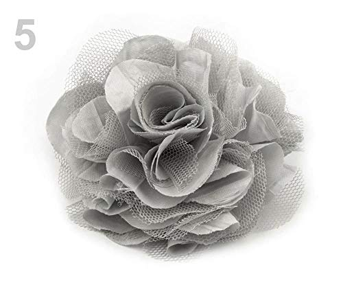 1stück 5 Hell-grau Brosche/Verzierung Rose Ø9 Cm, Stoff-broschen, Modeschmuck