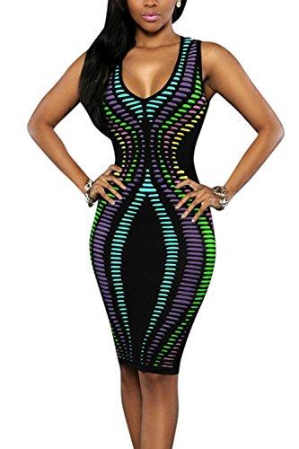 Le Donne Sexy Senza Maniche Estive / Collo Floreali Bodycon Midi Night Dress 4