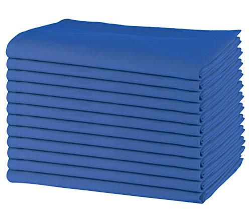 Sweet Needle - Packung mit 12 übergroßen Servietten, 100% Baumwolle, 50 cm x 50 cm, Schwerer Stoff, für den täglichen Gebrauch mit Gehrungsecken - königsblau - Polyester-servietten Bulk