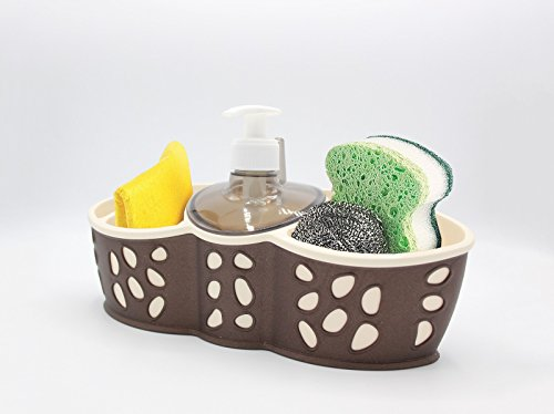 Sponge Bursh Holder Refillable Soap Dispenser Bath Kitchen Sink Tidy In 3 Colors (Caddy-03)