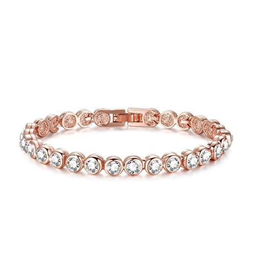 Imagen de redondo swarovski element pulsera de circonio cúbico, pulsera chapada en oro rosa de 18 k, pulsera de tenis [18cm] regalos de san valentín para el día de la madre en navida oro rosa
