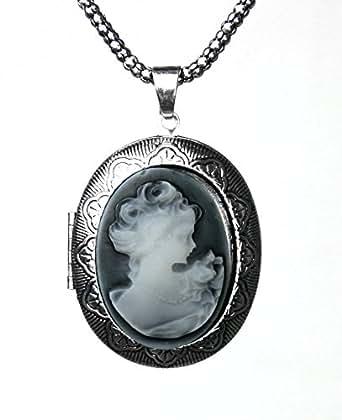 pendentif camée fantaisie PORTE PHOTO goth rétro noir argent vintage