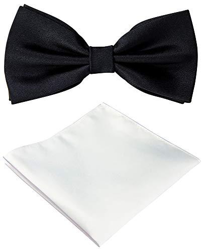 Helido Herren-Fliege mit Einstecktuch, einfarbig + Geschenkbox (Schwarz) Weiß Bow Tie Set