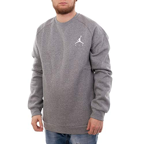 Nike Herren Jumpman Fleece Crew Sweatshirt L Carbon Heather/White -