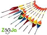ZooJa Posen Angeln Set, 10er Posensortiment als Schwimmer Laufposen für Friedfisch Pose und Forellen, Posenset als Angelzubehör und Schwimmerset