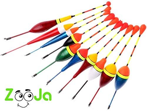 ZooJa® Posen Angeln Set, 10er Posensortiment als Schwimmer Laufposen für Friedfisch Pose und Forellen, Posenset als Angelzubehör und Schwimmerset