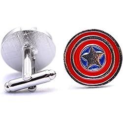 Marvel Capitán América Escudo estrella gemelos vengadores Super Hero Cuff Links par