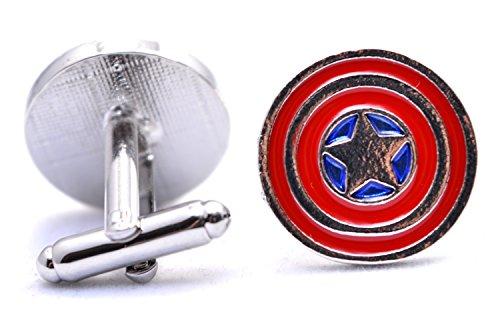 Manschettenknöpfe Marvel Captain America Shield Star Avengers Superheld Men's Fashion Jewelry Manschettenknöpfe Shirt Geschenk Party Hochzeit