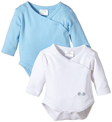 Twins Baby - Jungen Langarm-Wickelbody im 2er Pack, Mehrfarbig, Gr. 62, Mehrfarbig (weiss/baby blue)