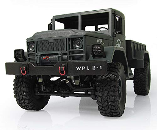 yiwa wpl b-14 control remoto de camión rc 4 ruedas motrices escalada vehículo todoterreno juguete 2.4g ejército juguetes forma de coche con iluminación de cabeza kit de bricolaje gray vehicle