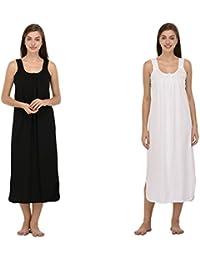 Ishita Fashions Cotton Gown Slip - Cotton Nighty - 2 PCs - Black and White