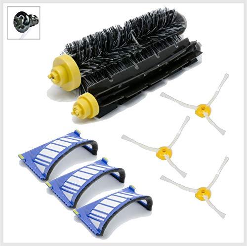 Robomarket® Set Light Serie 600 3 Ersatzbürsten, 3 Arme und Filter für Saugroboter iRobot Roomba Serie 585, 595, 610, 620, 625, 630, 650, 653, 660