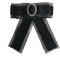 Mujer Moda Ramillete Banquete Accesorios Cuello Camisa Negro Personalidad Malla Ocupación Broche Simple Temperamento Pajarita Salvaje,Black