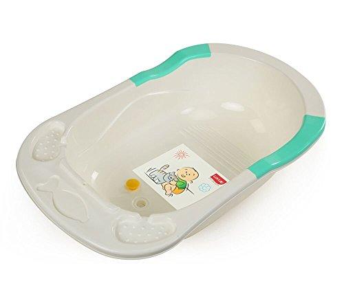 LuvLap Baby Bathtub with Anti-Slip (White&Green)