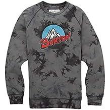 Burton Retro Mountain Organic Crew Sudadera, Hombre, Gris (Phantom Tie Dye),