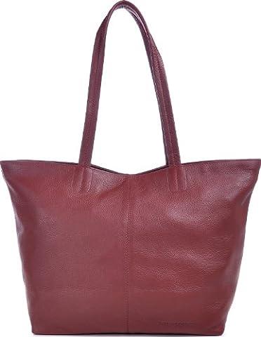 PHIL+SOPHIE, Cntmp, Damen Handtaschen, Shopper, Trend-Bags, Henkeltaschen, Leder Taschen, Weinrot, Bordeaux, 45x29x15 cm (B x H x