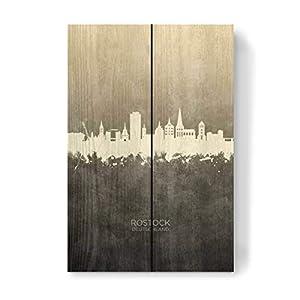 artboxONE Holzbild 30×20 cm Städte Rostock Germany Skyline Taupe von Künstler Michael Tompsett