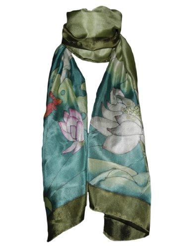 Pañuelo de 100% Seda Pintado a Mano - Flores de Loto con Libélula y Fondo Verde Gris