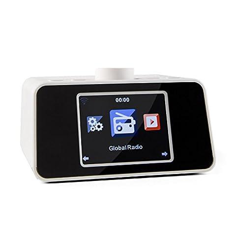 auna I-Snooze radio réveil numérique internet Wifi (avec port USB MP3, entrée AUX, réveil double alarme, écran couleur, affichage météo) -