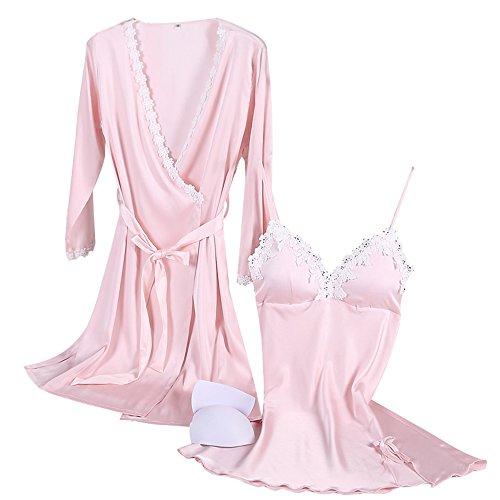 Aibrou Damen Satin Nachtwäsche Kimono Nachthemd Negligee Spitze Chemise Pyjama Robe Zwei Stücke Sleepwear Set Patchwork Rosa M (Robe Kimono Rosa)