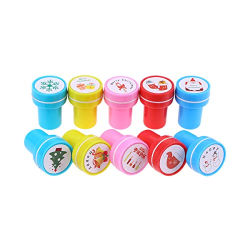 STOBOK 10pcs Christmas Stamps Santa Claus Snowman Elk Gingerbread Man Stamps for Kids Children