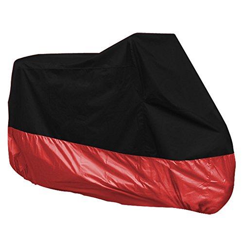 Surepromise Motorrad Abdeckplane Abdeckung Motorradabdeckung Motorradplane Outdoor Indoor 190T Wasserdicht Winterfest mit Tasche (XXXL, schwarz&rot)