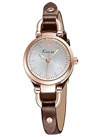 Alienwork Quarz Armbanduhr Armreif Kette wickeln Quarzuhr Uhr vintage Roségold weiss braun Leder