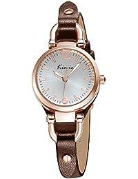 Alienwork Reloj cuarzo pulsera cadena envolver relojes mujer Niña Oro rosa Piel de vaca blanco marrón YH.KW545G-03