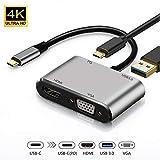 USB C vers HDMI et VGA, 4 en 1 Hub De Type C Vers VGA HDMI 4 K UHD USB3.0 et PD3.0,...