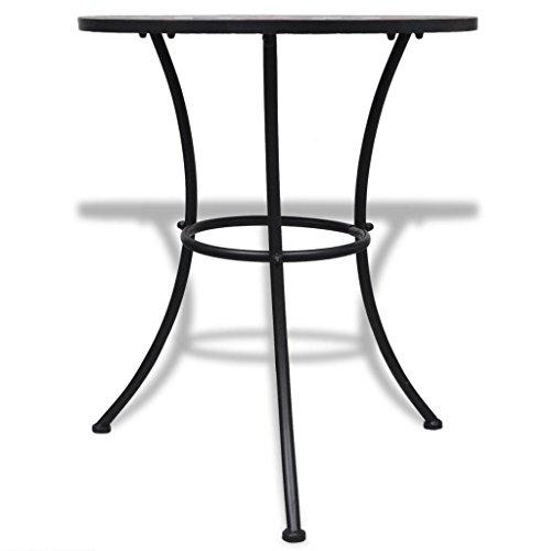 Tuduo Keramik-Tisch mit Mosaik 60 cm Terracotta/Weiß Design Einfach und Elegant, Robust und Stabiler Gartentisch