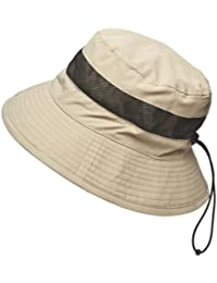 Mens Trekker Hat with Breathable Mesh Panels and Chin Strap (Stone)