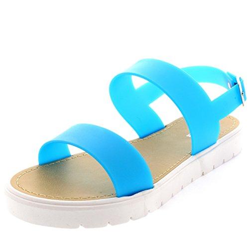 Femmes Jeune Mariée Arrière Bout Ouvert Crampons Unique Plage Sandale Bleu