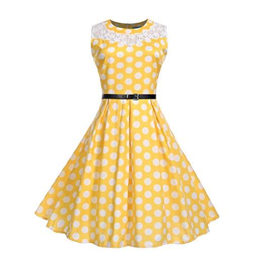 Rocke Womens Dress Girl Gelb Mode ärmellose Spitze Patchwork O Hals Abend Party Prom Swing Dress (Color : Gelb, Size : XXL) (Womens Kostüm Zum Verkauf)