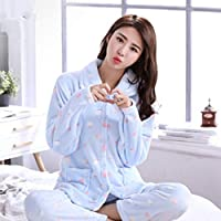 WYIKAI Pijamas El Blue Wave Punto Mujer Otoño Invierno Fuera De La Camiseta Pajama Establece Franela 2Pieza Gruesa Pijama Longsleeved Home,XL