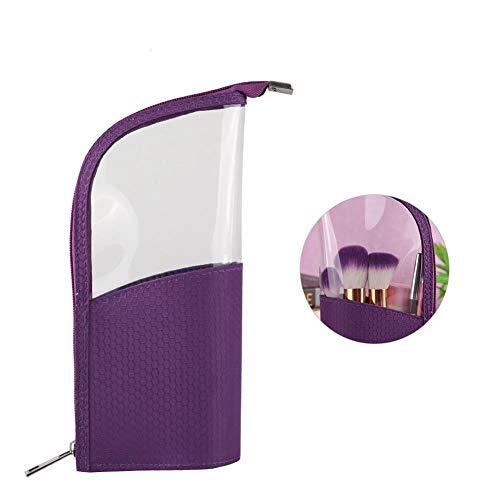 Organisateur de pinceaux de maquillage, étui de stylo à crayons pour le bureau, pochette en plastique transparente pour fermeture à glissière, petit sac de papeterie de toilette (Violet)