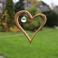 Fenster Deko zum Aufhängen | Herz aus Holz | Regenbogenkristall | Fensterschmuck | Fensterdeko
