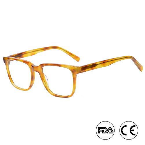 Kirka Blaulicht Blocker Gläser für Computer Anti-Augenmüdigkeit Linse quadratische Rahmen Brillen(WD1067C2 Leoparddruck)