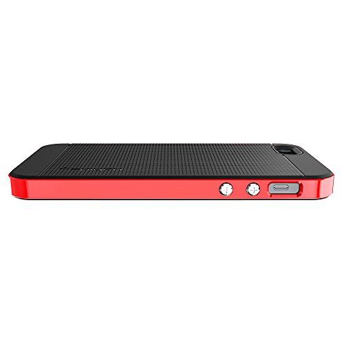 iPhone SE Hülle, Spigen® iPhone 5S/5/SE Hülle [Neo Hybrid] Doppelschichter Schutz [Gunmetal] 2-teilige Premium Handyhülle Schwarz Silikon TPU Schale + PC Farbenrahmen Dual Layer Schutzhülle für Apple  NH Dante Red