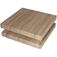 TPFLiving Premium Designer Couchtisch ECO Mit Drehbarem Oberteil 75x75cm | Couchtisch  Holz Eiche | Couchtisch Verstellbar | Couchtisch Modern Design ...