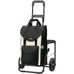 Andersen Chariot de courses Komfort avec sacoche Senta blanche, volume 49L, cadre acier et fonction siège