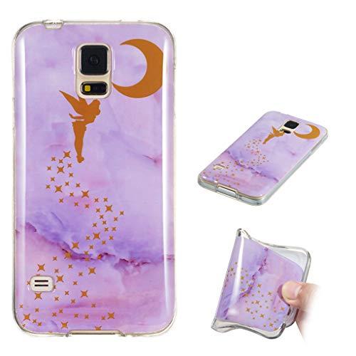 Yunbaozi Marmor Hülle für Samsung Galaxy S5 Schlank Weich Gummi Case Stoßstange Löschen Matte Drucken Natürliche Textur Anti-Scratch Shock Geometrische Muster, Elfenroter Marmor