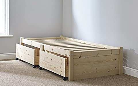 3ft Single STORAGE Studio Solid Pine Bed Frame with two drawers