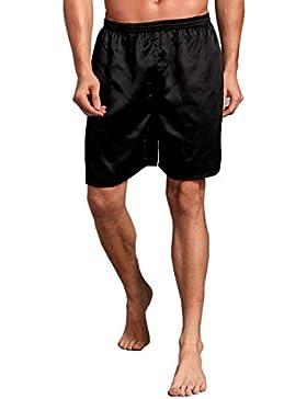 Pantalones para Hombres,❀❀RETUROM Nuevo Estilo 2018,Hombres Pijama de satén de Seda Ropa de Dormir Homewear Robes...