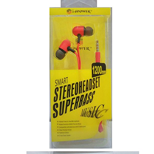 i-SPOWER Smart Stereo Headset Flat tangle-free cables with Super Bass Music Universal supported 3.5MM Hi-Fi Noise-Isolating In-Ear Piston Earphone with in line Mic - compatible with Samsung, Coolpad, Xiaomi, Redmi, Sony, Lenovo, Vivo, Gionee, Oppo, Micromax, Intex, Lava, LG, Nokia, All Apple & Android phone series and Tablets, MP3 Players, Laptops and Desktop & Gaming Console - i-SPOWER-HS-067-RED  available at amazon for Rs.249