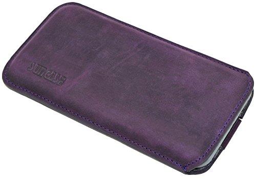 Original Suncase Tasche für iPhone 8 / iPhone 7 / iPhone 6s / iPhone 6 (4.7 Zoll) *Ultra Slim* Leder Etui Handytasche Ledertasche Schutzhülle Case Hülle (mit Zieh-Lasche) schwarz mit blauen Nähten antik-violett
