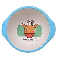 Children Tableware Set, 5 Piece Set Bamboo Fiber Cartoon Non Toxic 4 Slots Plate Bowl Cup Fork Spoon Baby Feeding Dinnerware Set