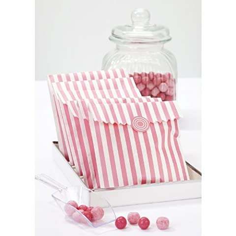 10 Pink & White Striped Treat Bags