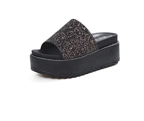 estate Europa e in America pantofole nuove fondo pesante femmina paillettes estate focaccina con i tacchi alti sandali dei pistoni della resistenza di parola Ms. Black