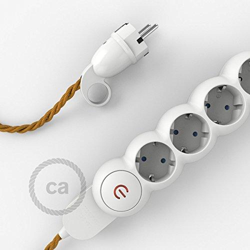 Multipresa con cavo in tessuto colorato effetto seta Oro TM05 e spina schuko con anello confort - 3 Metri
