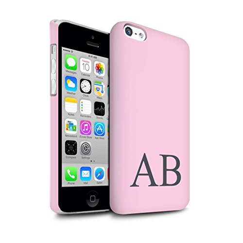 Personalisiert Pastell Monogramm Matte Hülle für Apple iPhone 5C / Türkis Design / Initiale/Name/Text Snap-On Schutzhülle/Case/Etui Rosa